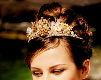 Bridal tiara Made to Order WEDDING crown vintage hairpiece with vintage rose brooches signed Sarah Coventry - JOSEPHINE