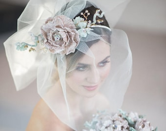 WEDDING VEIL bridal short  veil CHANTAL with detachable handmade silk velvet flower, Swarovski crystals rhinestones fascinator made to order