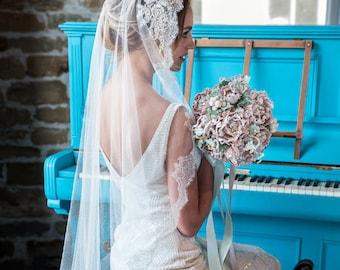 Wedding veil ISABELLE - Silk Mantilla Veil with pure silk lace and beaded lace applique', Bridal Veil, Chapel Veil