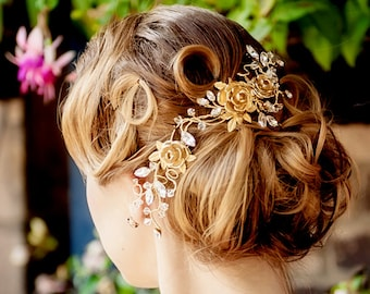Bridal hair vine WEDDING hair wrap vintage hairpiece with vintage rose brooch signed Sarah Coventry - EMMA Made to Order