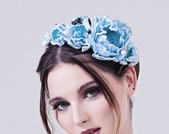 BLUE Bridal floral crown with couture flower and crystal accents, silk velvet, powder blue