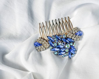 JACKIE rhinestone hair comb - something blue - repurposed vintage rhinestone hair adornment