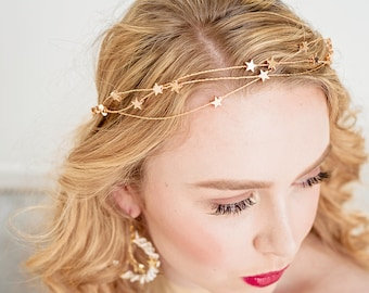 STELLA - Wedding full crown Grecian style headband  Bridal floral crown gold plated stars MADE to ORDER