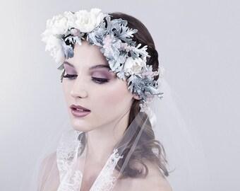 Bridal floral crown EMILY , soft hue, gemstones, rose quartz,  Swarovski crystals, hand sculpted  flowers, MADE to ORDER