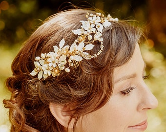 Wedding Headband Bridal floral crown  ALLY , gold, hair vine, crystal, flowers, Made to Order
