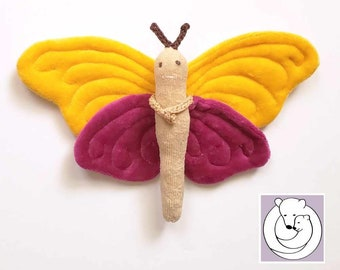 Waldorf inspired Butterfly made from all natural Materials Yellow/ Fuchsia