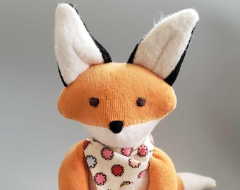 Waldorf inspired Little red Toy Fox, All Natural Materials,  Striped Bandana