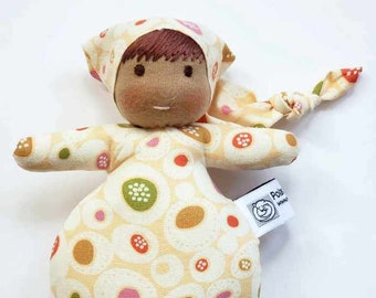 Waldorf inspired Mini Baby, All Natural Materials, Yellow with Dots