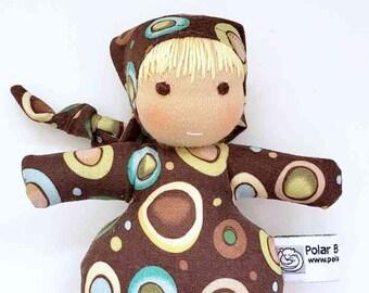 Waldorf inspired Mini Baby , All Natural Materials, Brown Dots