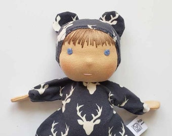 Waldorf inspired First Doll, All Natural Materials, Deer on Blue