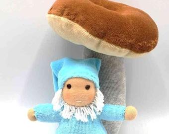 Waldorf inspired Pocket Gnome Teal with Mushroom, All natural Materials