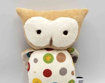 Owl, Stuffed Animal, All Natural Materials, Dots