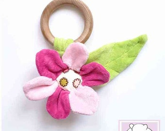 Waldorf inspired Teether, Flower with Rattle, All natural Materials
