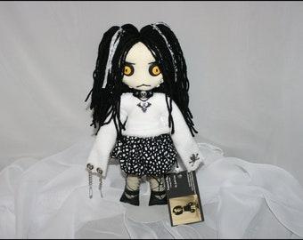 OOAK Hand Stitched MIni Psycho Rag Doll Creepy Gothic Folk Art By Jodi Cain Tattered Rags
