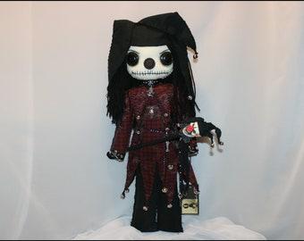 OOAK Evil Jester Rag Doll Creepy Gothic Horror Folk Art By Jodi Cain Tattered Rags