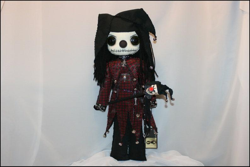 OOAK Evil Jester Rag Doll Creepy Gothic Horror Folk Art By image 1