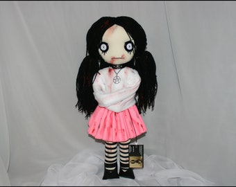 OOAK Hand Stitched Psycho Rag Doll Crazy Straight Jacket Creepy Gothic Folk Art by Jodi Cain Tattered Rags