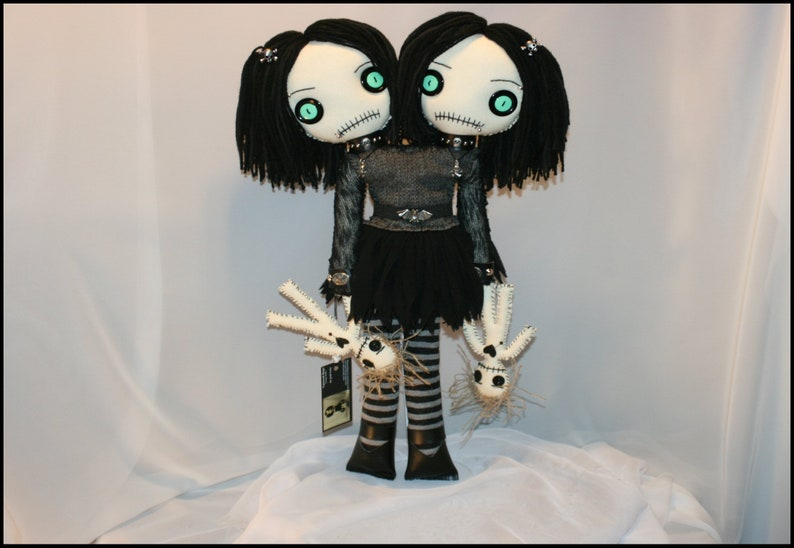 OOAK Hand Stitched Siamese Twin Rag Doll Creepy Gothic Folk image 0