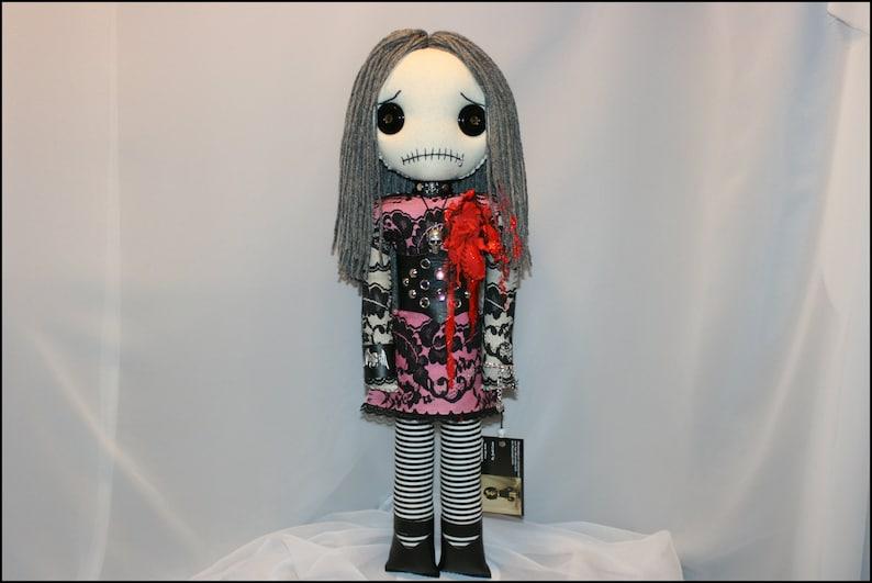 Bloody Heartbreak Hand Stitched Rag Doll Creepy Gothic image 0