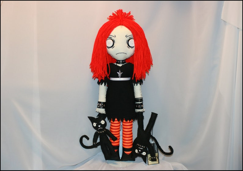 Ruby Gloom Inspired Hand Stitched Rag Doll With Cats Creepy image 0