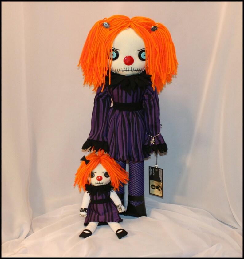 OOAK Hand Stitched Clown Rag Doll Creepy Gothic Folk Art By image 0