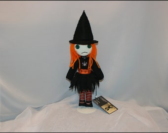 Hand Stitched Mini Witch Rag Doll Creepy Gothic Halloween Folk Art  By Jodi Cain Tattered Rags