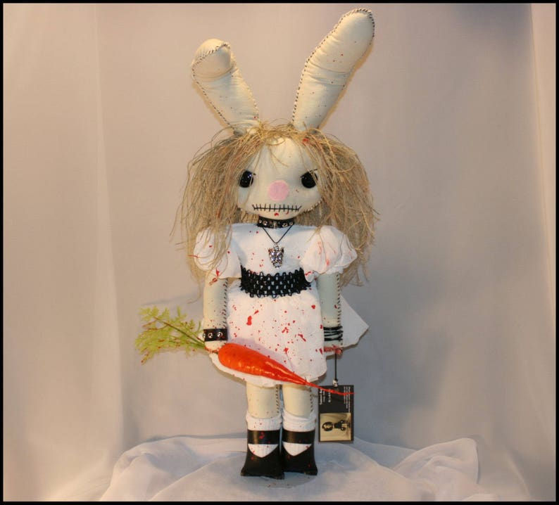 OOAK Hand Stitched Evil Bunny Inspired Rag Doll Creepy Gothic image 0