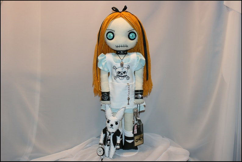 Alice in Wonderland Inspired Hand Stitched Rag Doll Creepy image 0