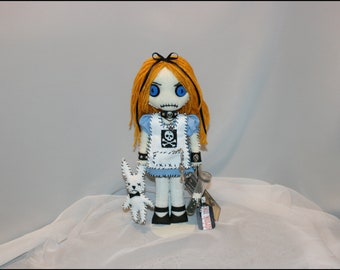 Mini 11 inch Alice in Wonderland Inspired Hand Stitched Rag Doll Creepy Gothic Outsider Art by Jodi Cain Tattered Rags