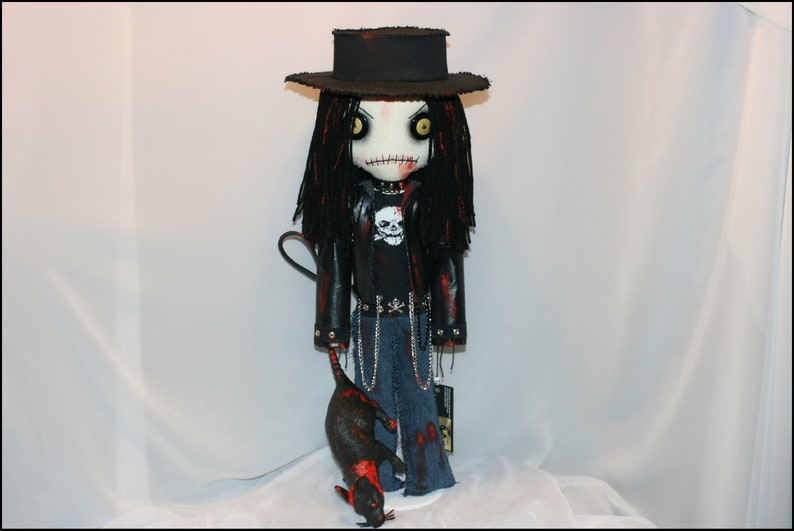 OOAK Hand Stitched Zombie Rag Doll Creepy Gothic Horror Folk image 0