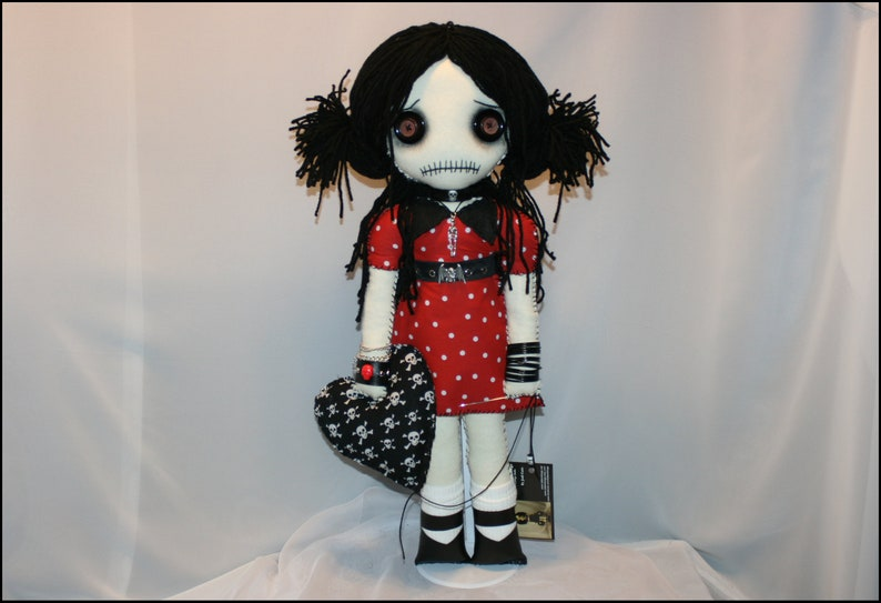 OOAK Hand Stitched Valentines Day Stitched Heart Rag Doll image 0