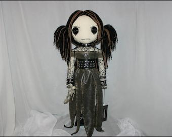 OOAK Hand Stitched Rag Doll With Skeleton Creepy Gothic Folk Art by Jodi Cain Tattered Rags