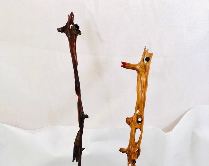 Baby Giraffes (Sydney & Sophie) - wood sculpture