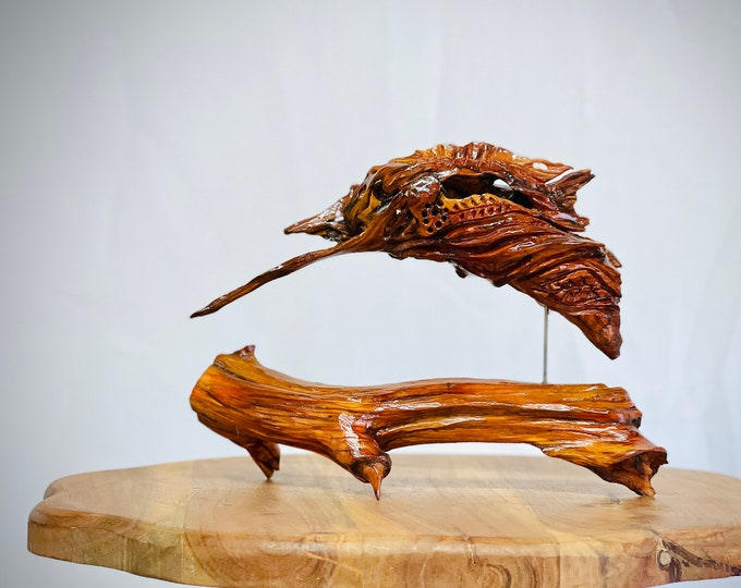 Dancing Dolphin - wood sculpture