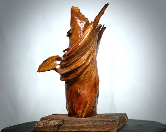 Praying Monk - abstract cedar wood sculpture