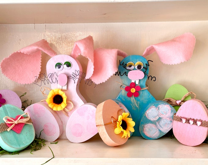 Floppy-eared Easter bunnies each w/bonus egg! Made to order. Whimsical Easter Decor, Fast Delivery