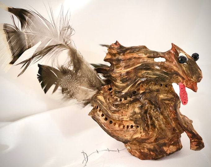 Terrified Turkey - wood sculpture #167