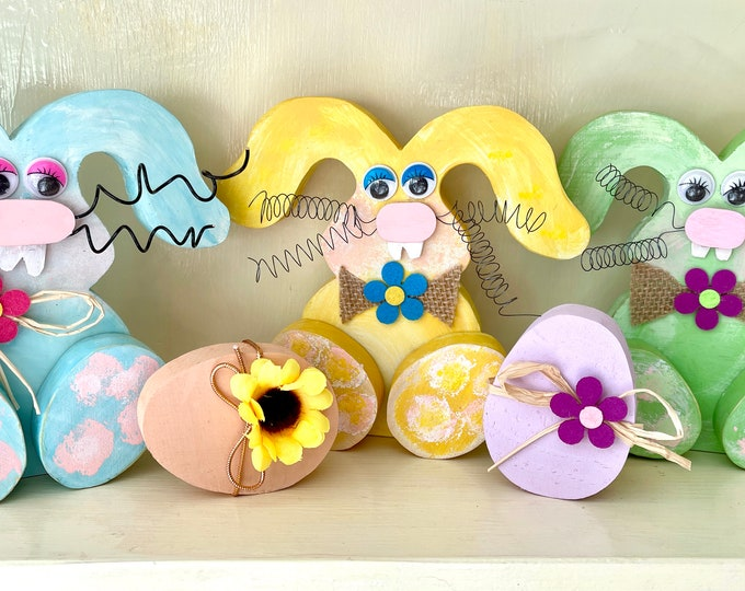 Wood Bunnies + Eggs! Made to order. Whimsical Easter Decor, Fast Delivery