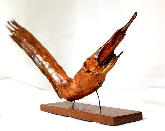 Soaring Fish - wood sculpture #104