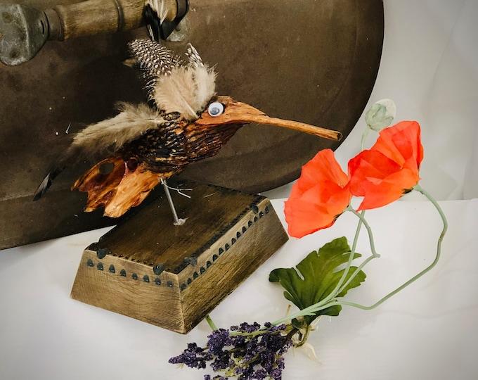 Cute Little Hummingbird - wood sculpture