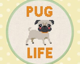 Pug Life Cross Stitch Pattern. Cute Pet Dog Modern Simple Sweet Counted Cross Stitch Pattern PDF File. Instant Download