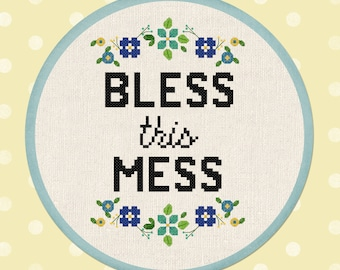 Bless This Mess Cross Stitch Pattern. Flowery Quote Modern Simple Cute Pretty Counted Cross Stitch Pattern PDF Instant Download