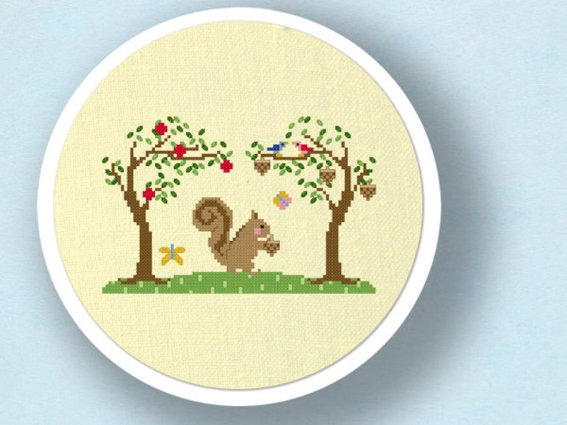 Cute Squirrel Amongst Trees. Modern Simple Cute Counted Cross Sch PDF on