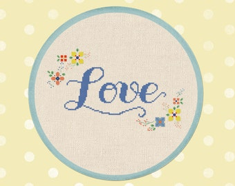 Love and Flowers Cross Stitch Pattern. Cursive Love Modern Simple Cute Pretty Counted Cross Stitch Pattern PDF File. Instant Download