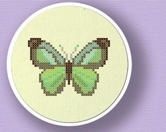 Pretty Green Butterfly. Modern Simple Cute Cross Stitch Pattern PDF File. Instant Download