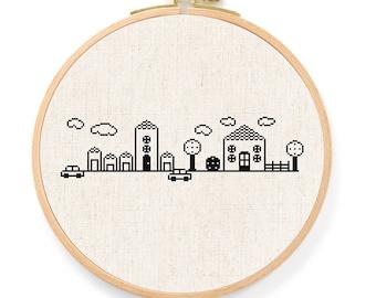 My Cute Neighborhood Cross Stitch Pattern. House Cross Stitch, Modern Simple Cute Counted Cross Stitch PDF Pattern. Instant Download