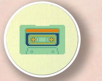 Mint Cassette Tape Cross Stitch Pattern. Modern Simple Cute Counted Cross Stitch PDF Pattern. Instant Download
