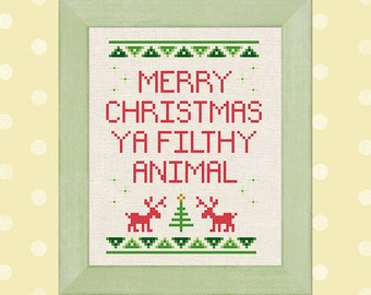 Merry Christmas Ya Filthy Animal Cross Stitch Pattern Quote Best Seller Modern Simple Cute Holiday Cross Stitch Pattern PDF Instant Download