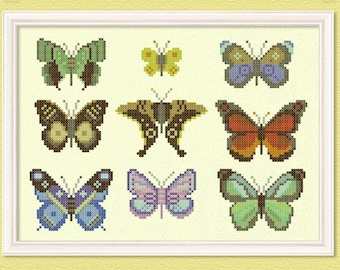 The Butterfly Collector Cross Stitch Pattern - Large Modern Simple Pretty Cross Stitch Pattern. PDF Instant Download