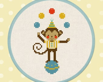 Cute Jugglin Monkey Cross Stitch Pattern. Circus Modern Simple Cute Counted Cross Stitch Pattern PDF Instant Download